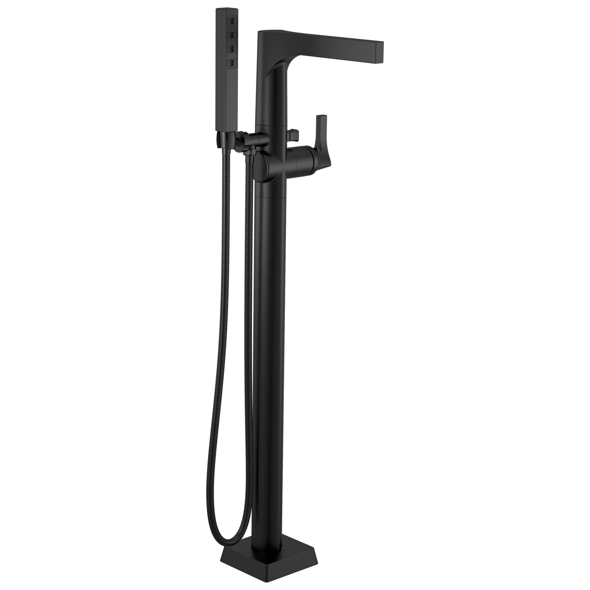 Delta Zura Matte Black Finish Single Handle Floor Mount Tub Filler Faucet with Hand Shower Trim Kit (Requires Valve) DT4774BLFL