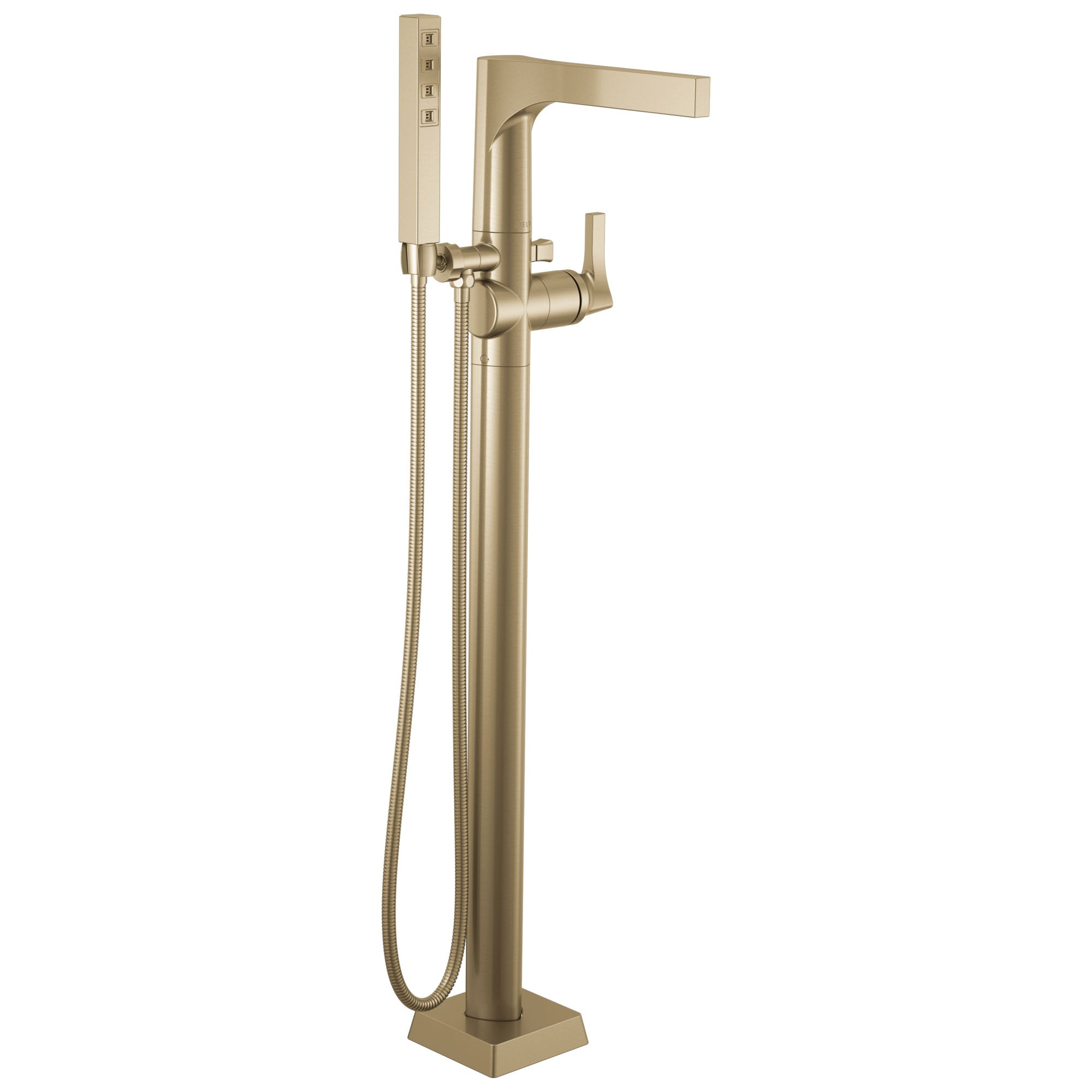 Delta Zura Champagne Bronze Finish Freestanding Floor Mount Tub Filler Faucet with Hand Shower Includes Handle, Cartridge, and Valve D3607V