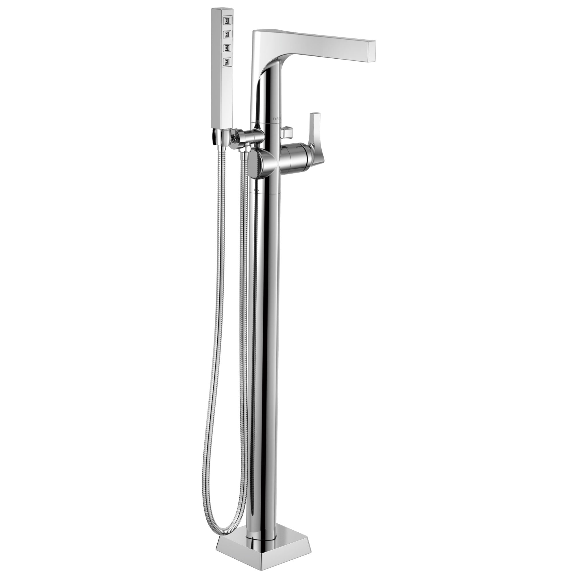 Delta Zura Collection Chrome Modern Floor Mount Freestanding Tub Filler Faucet with Hand Shower Includes Trim Kit and Rough-in Valve D2069V