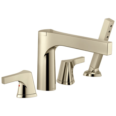 Delta Zura Collection Polished Nickel Contemporary 4-Hole Deck Mounted Roman Tub Filler Faucet with Handheld Shower Includes Trim Kit and Rough-in Valve D2068V