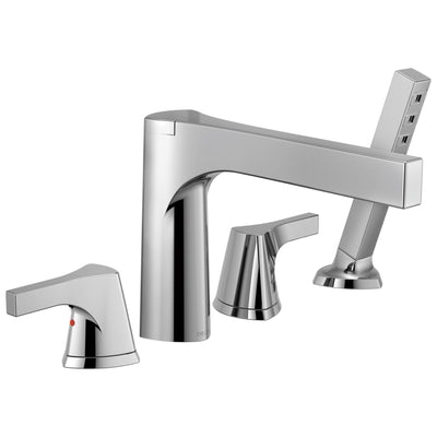 Delta Zura Collection Chrome Finish 4-Hole Roman Tub Filler Faucet with Hand Shower Includes Rough-in Valve D1905V