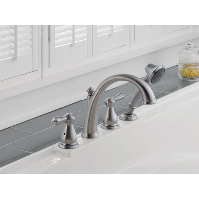Delta Leland Stainless Steel Finish Tub Filler with Valve and Hand Shower D879V