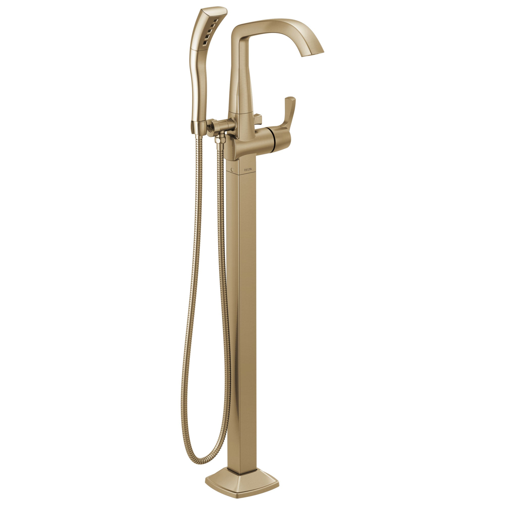 Delta Stryke Champagne Bronze Finish Single Lever Handle Floor Mount Tub Filler Faucet with Hand Sprayer Includes Rough-in Valve D3037V