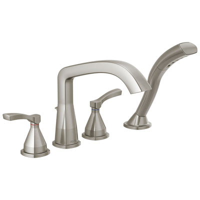 Delta Stryke Stainless Steel Finish Deck Mount Roman Tub Filler Faucet with Hand Shower Includes Rough-in Valve and Lever Handles D3034V