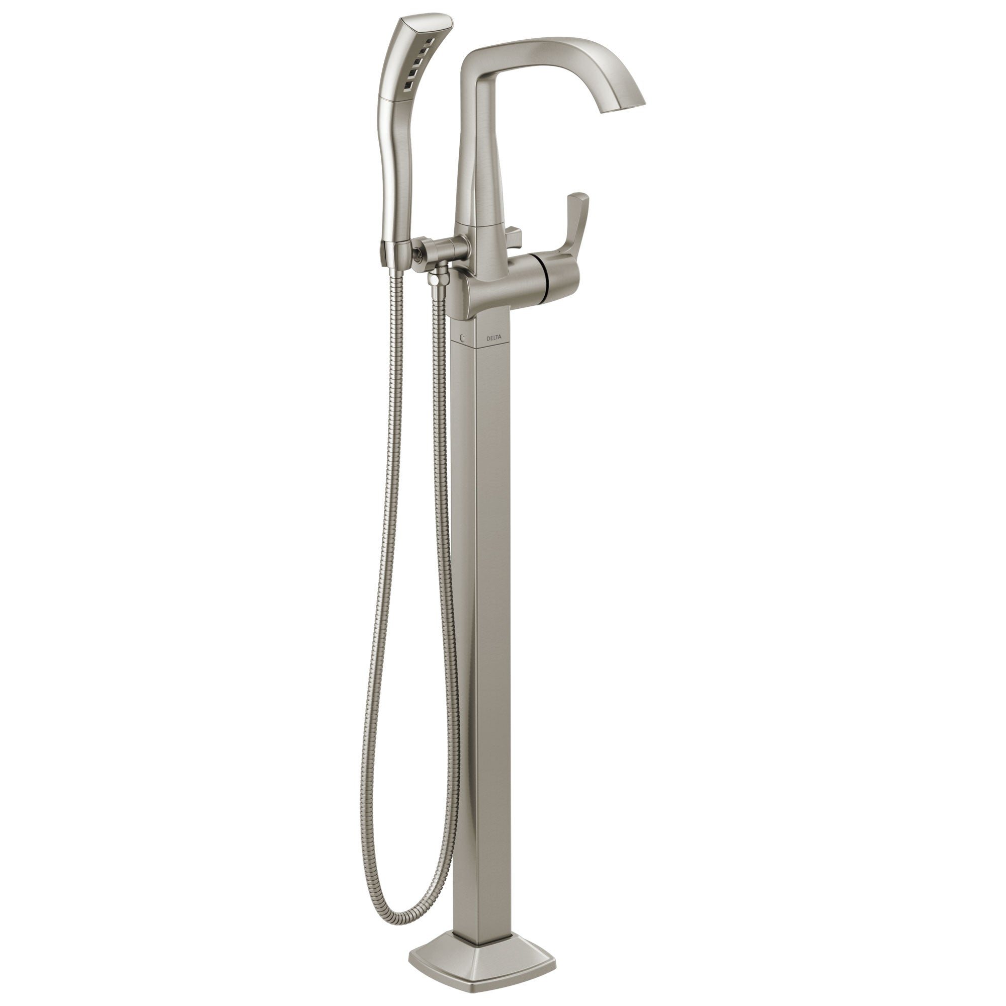 Delta Stryke Stainless Steel Finish Single Lever Handle Floor Mount Tub Filler Faucet with Hand Sprayer Includes Rough-in Valve D3033V
