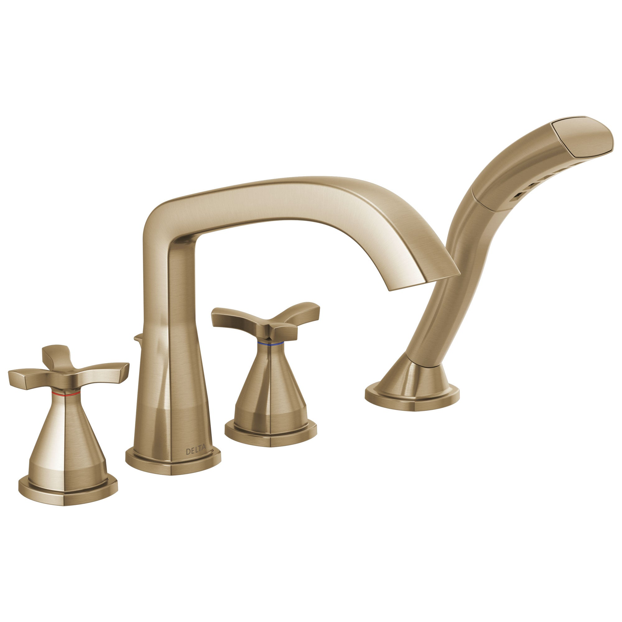 Delta Stryke Champagne Bronze Finish Cross Handle Deck Mount Roman Tub Filler Faucet with Hand Shower Trim Kit (Requires Valve) DT47766CZ