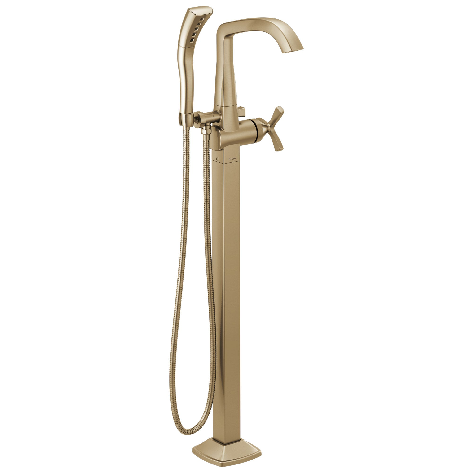 Delta Stryke Champagne Bronze Finish Single Helo Cross Handle Floor Mount Tub Filler Faucet with Hand Sprayer Includes Rough-in Valve D3045V