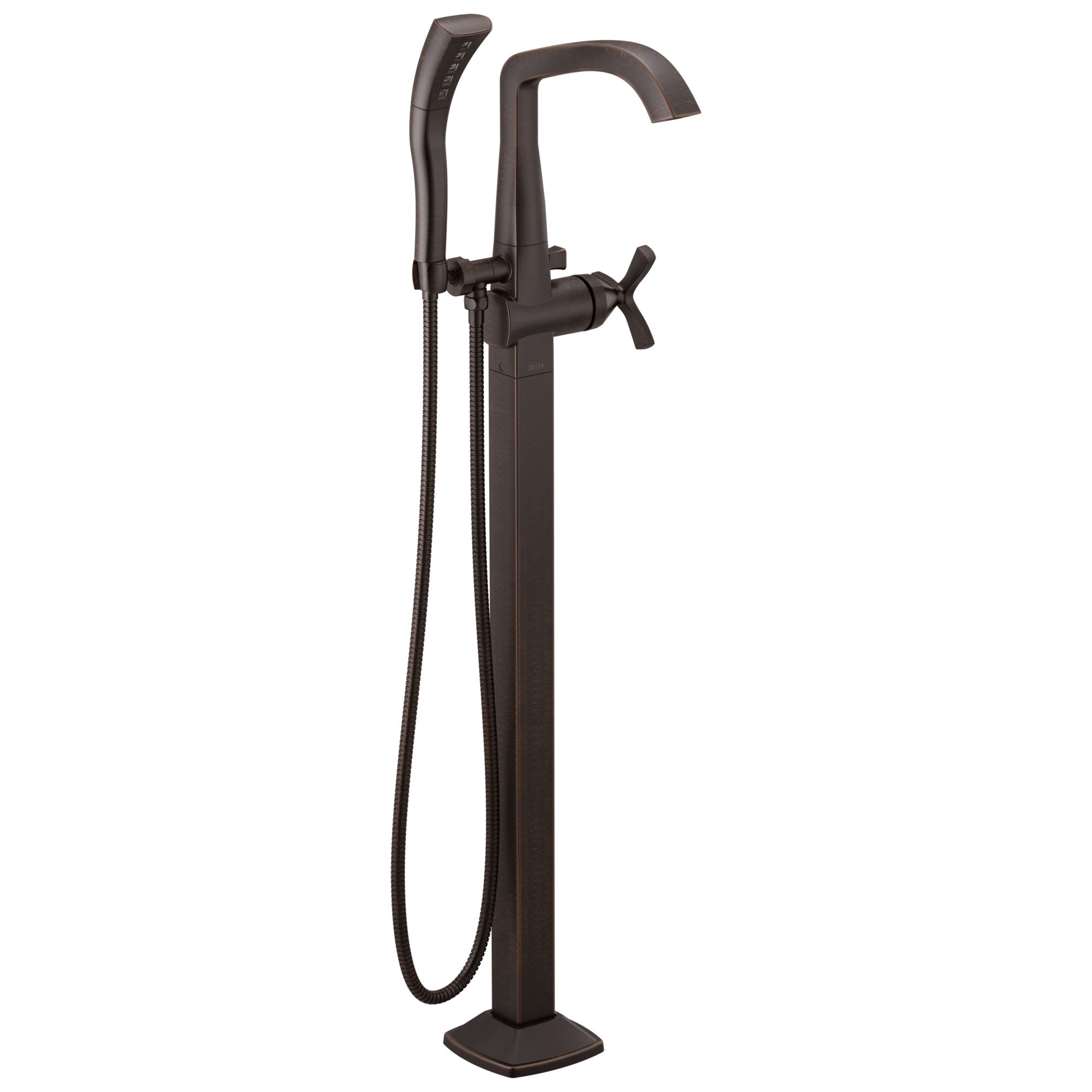 Delta Stryke Venetian Bronze Finish Single Helo Cross Handle Floor Mount Tub Filler Faucet with Hand Sprayer Includes Rough-in Valve D3043V