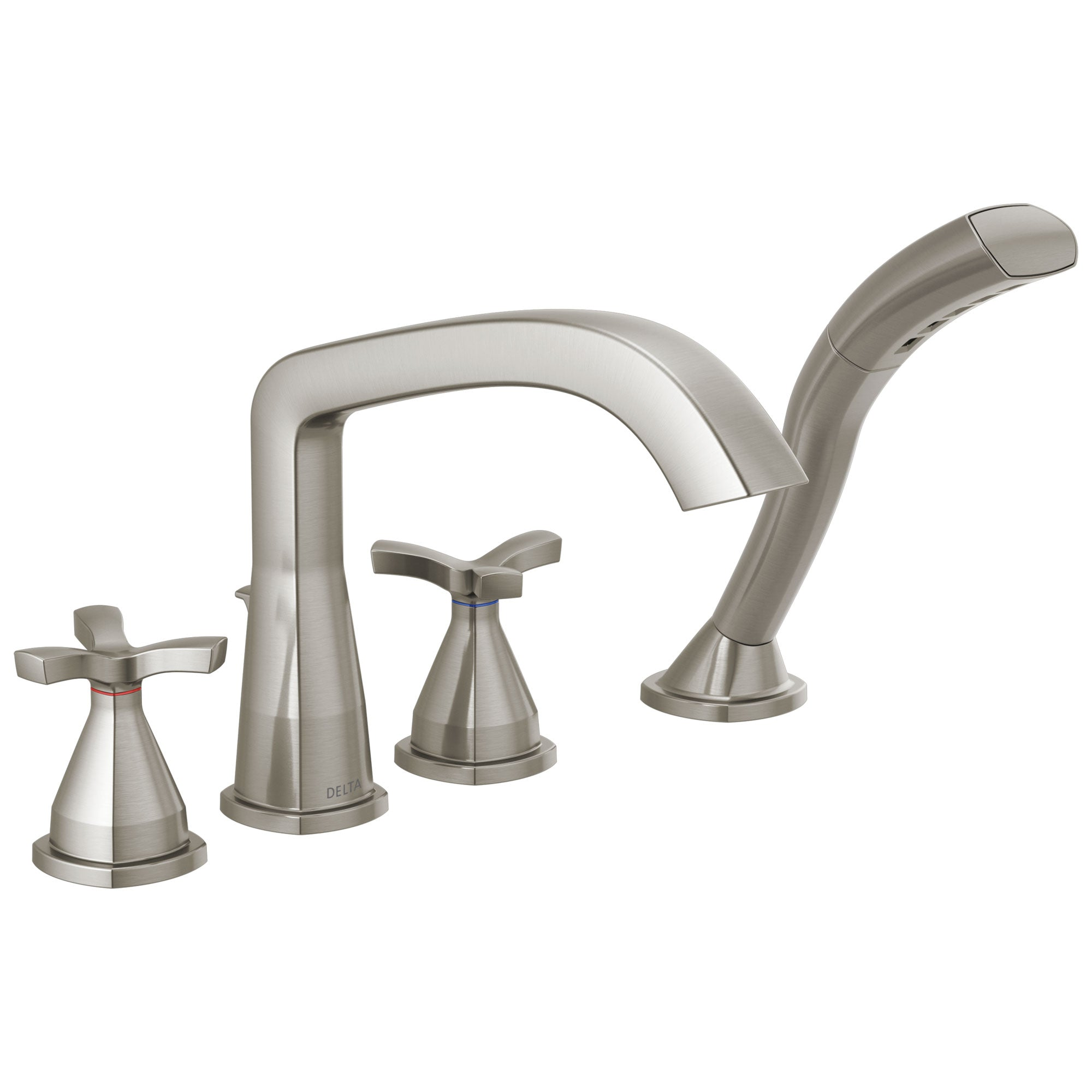 Delta Stryke Stainless Steel Finish Helo Cross Handle Deck Mount Roman Tub Filler Faucet with Hand Shower Includes Rough-in Valve D3042V