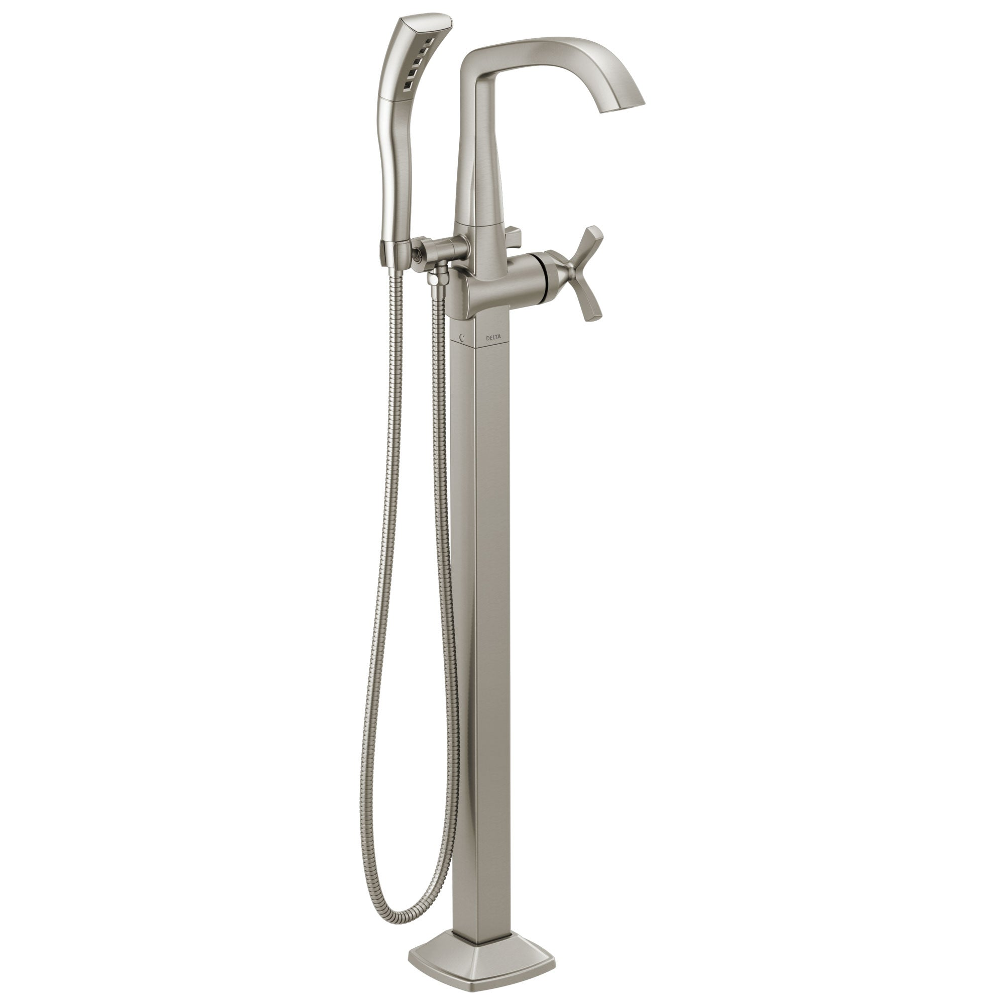 Delta Stryke Stainless Steel Finish Single Helo Cross Handle Floor Mount Tub Filler Faucet with Hand Sprayer Includes Rough-in Valve D3041V