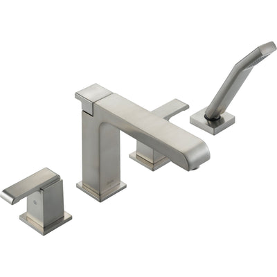 Delta Arzo Stainless Steel Finish Roman Tub Faucet w/ Handshower and Valve D881V