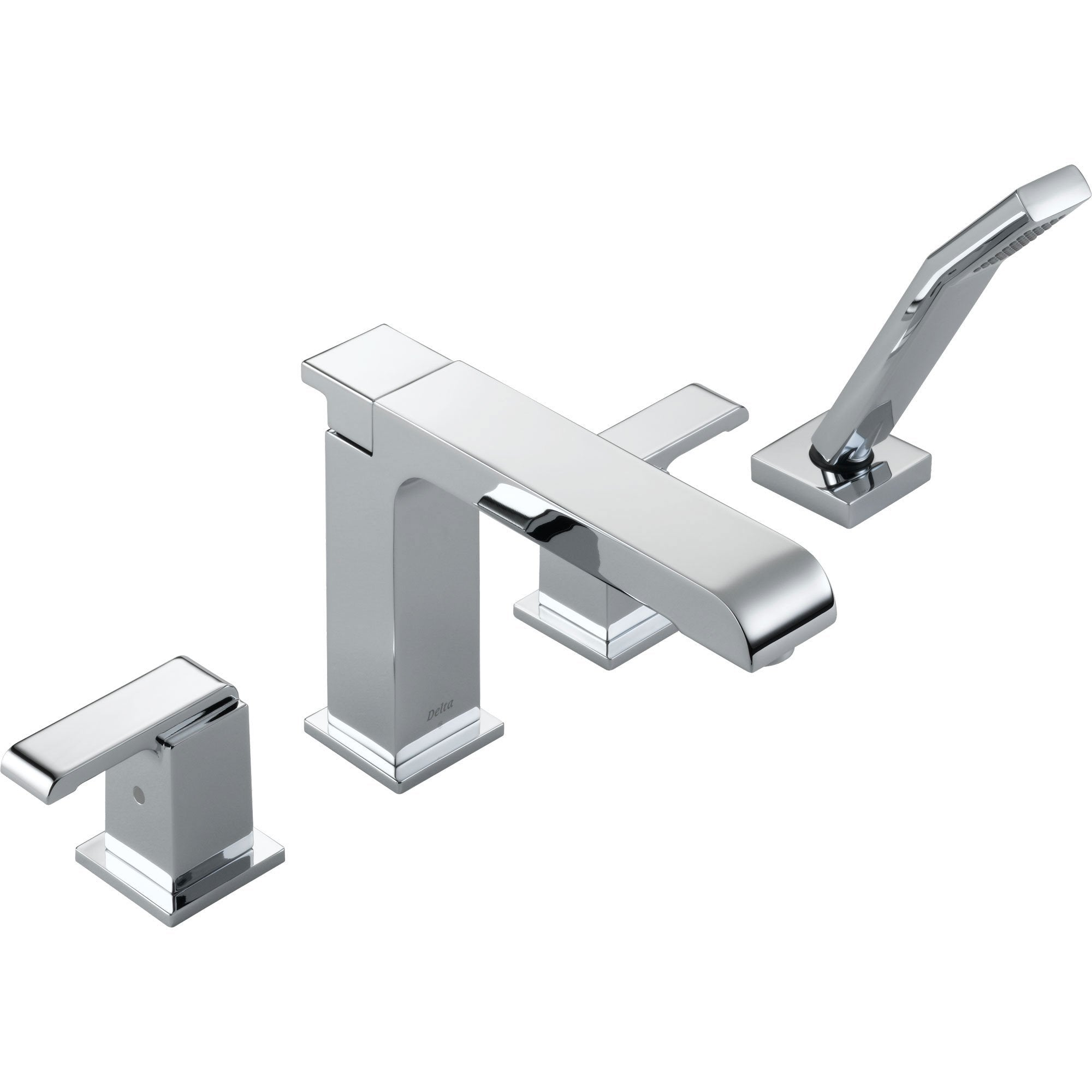 Delta Arzo Modern Square Chrome Roman Tub Faucet with Handshower and Valve D880V