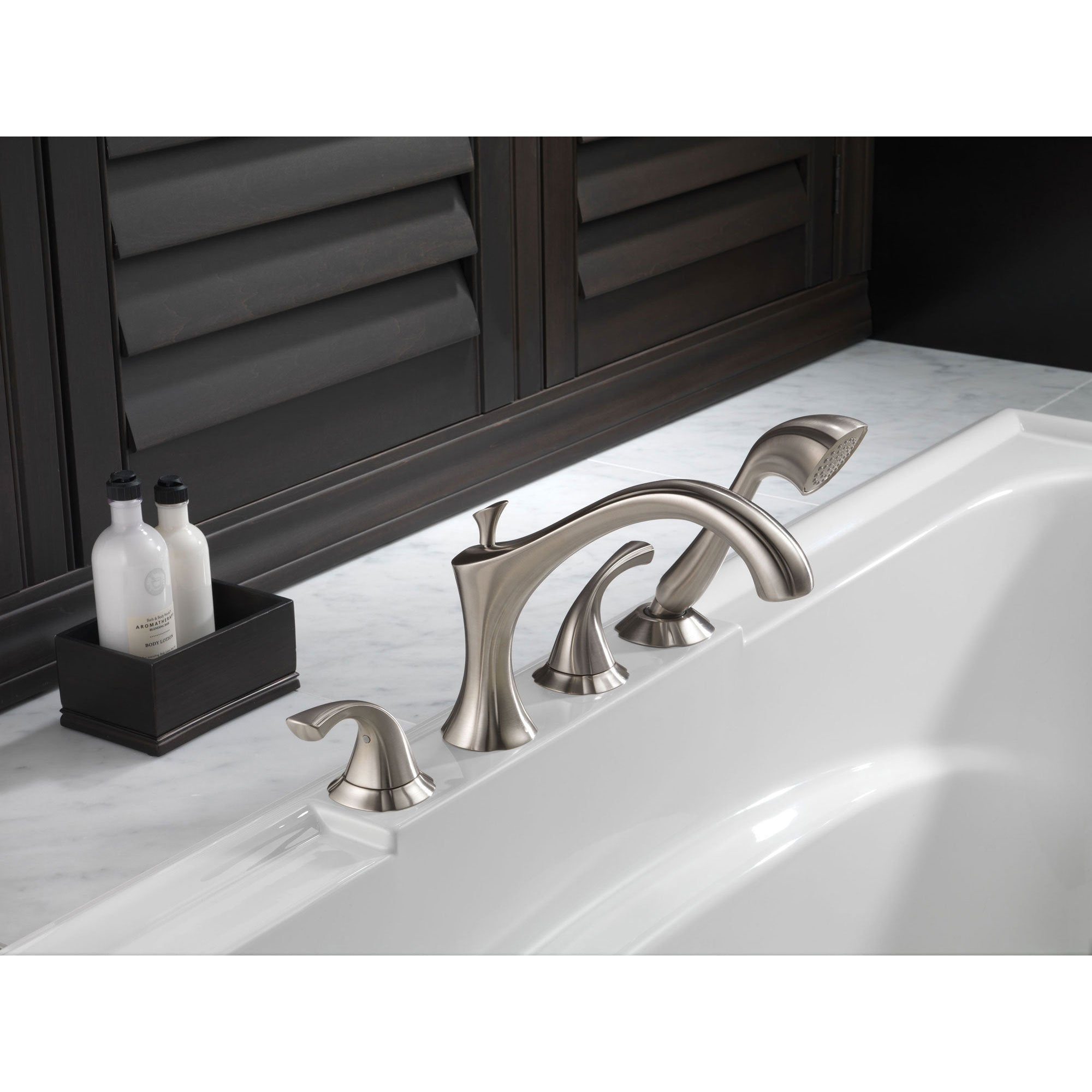 Delta Addison Stainless Steel Finish Roman Tub Faucet with Handspray ...