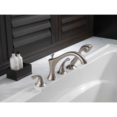 Delta Addison Stainless Steel Finish Tub Filler with Handspray and Valve D885V