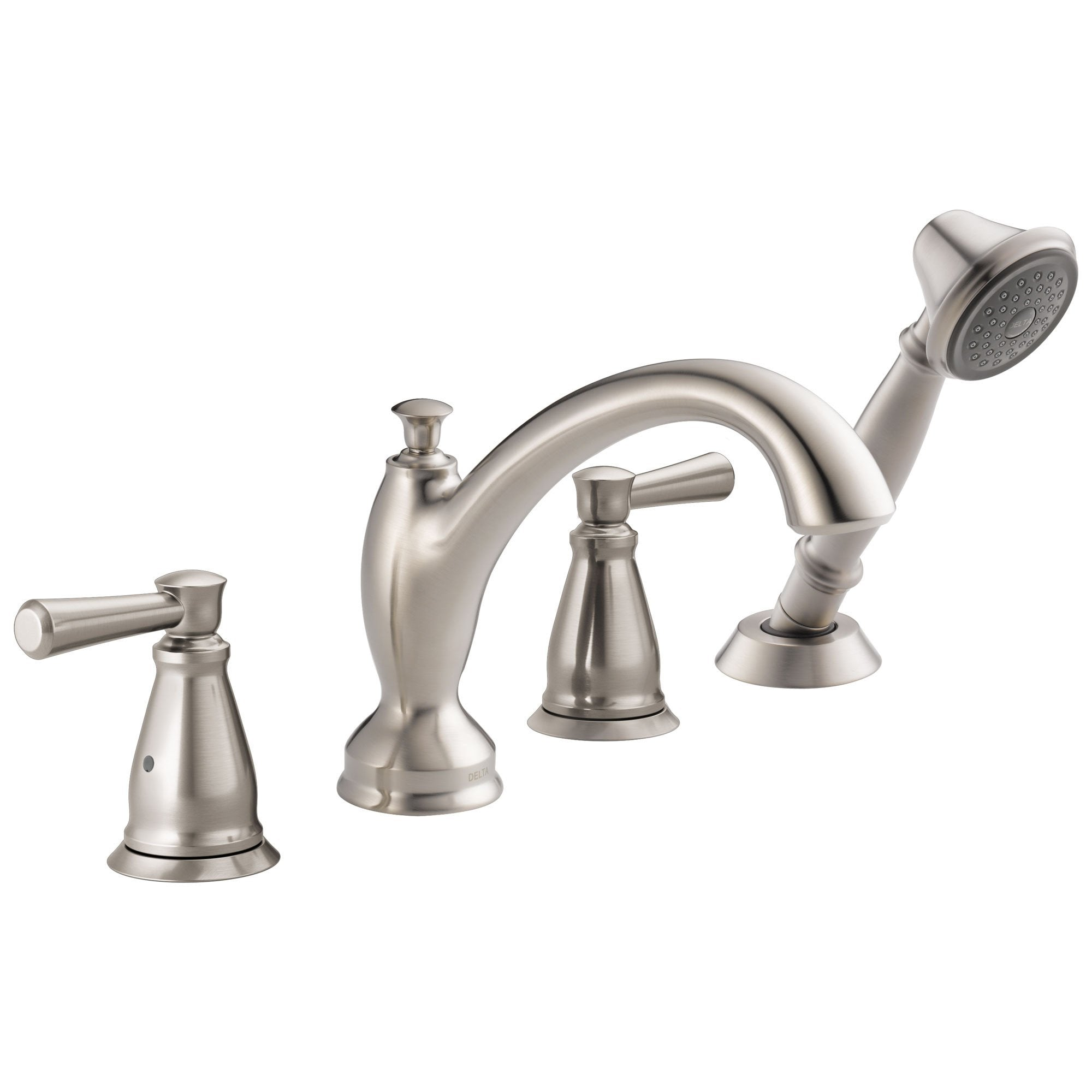 Delta Linden Collection Stainless Steel Finish Roman Tub Filler Faucet with Hand Shower Sprayer Trim Kit (Requires Rough-in Valve) DT4793SS