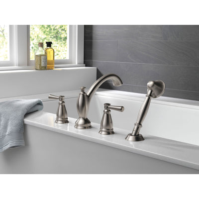 Delta Linden Collection Stainless Steel Finish Roman Tub Filler Faucet with Hand Shower Sprayer Includes Rough-in Valve D2063V