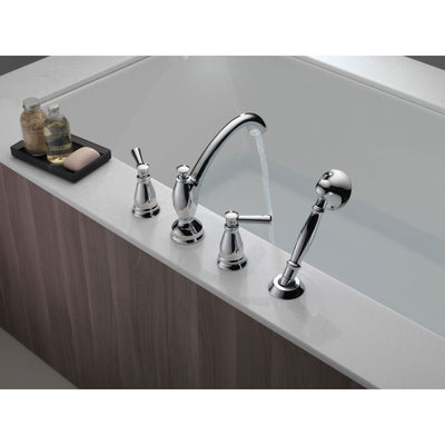 Delta Linden Collection Chrome Finish Deck Mounted Roman Tub Filler Faucet with Hand Shower Sprayer Includes Trim Kit and Rough-in Valve D2065V