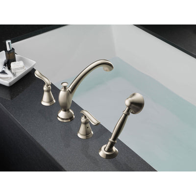 Delta Linden Stainless Steel Finish Roman Tub Faucet with Handspray Trim 555631