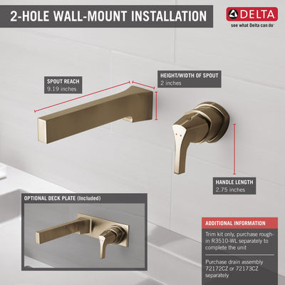 Delta Zura Champagne Bronze Finish Single Handle Wall Mount Bathroom Sink Faucet Includes Rough-in Valve D3605V