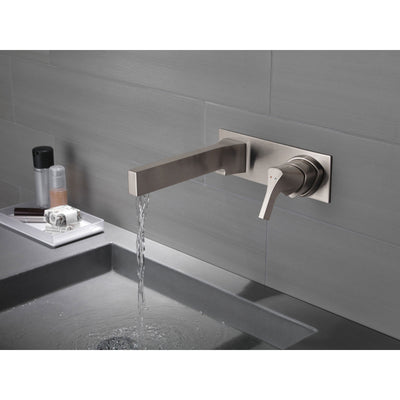 Delta Zura Collection Stainless Steel Finish Single Handle Modern Wall Mount Lavatory Bathroom Faucet INCLUDES Rough-in Valve D1899V