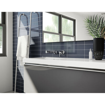 Delta Zura Collection Chrome Finish Single Handle Modern Wall Mount Lavatory Bathroom Faucet INCLUDES Rough-in Valve D1898V