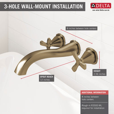 Delta Stryke Champagne Bronze Finish Wall Mounted Tub Filler Faucet Includes Rough-in Valve and 2 Helo Cross Handles D3021V