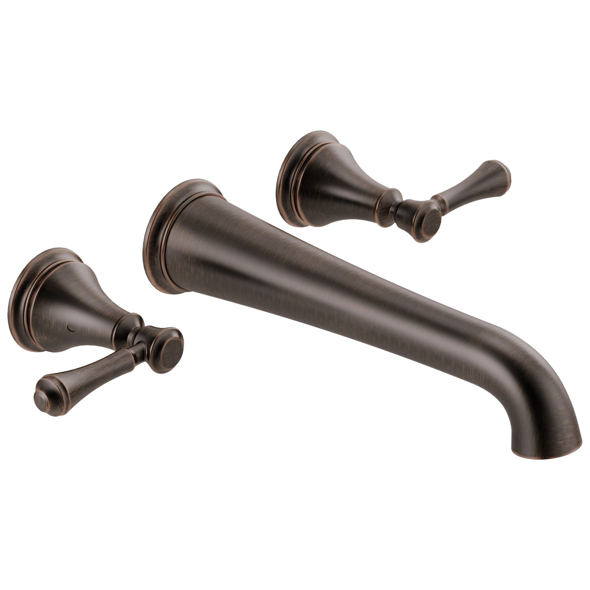 Delta Cassidy Venetian Bronze Finish 2 Handle Wall Mount Tub Filler Faucet Includes Rough-in Valve D3010V