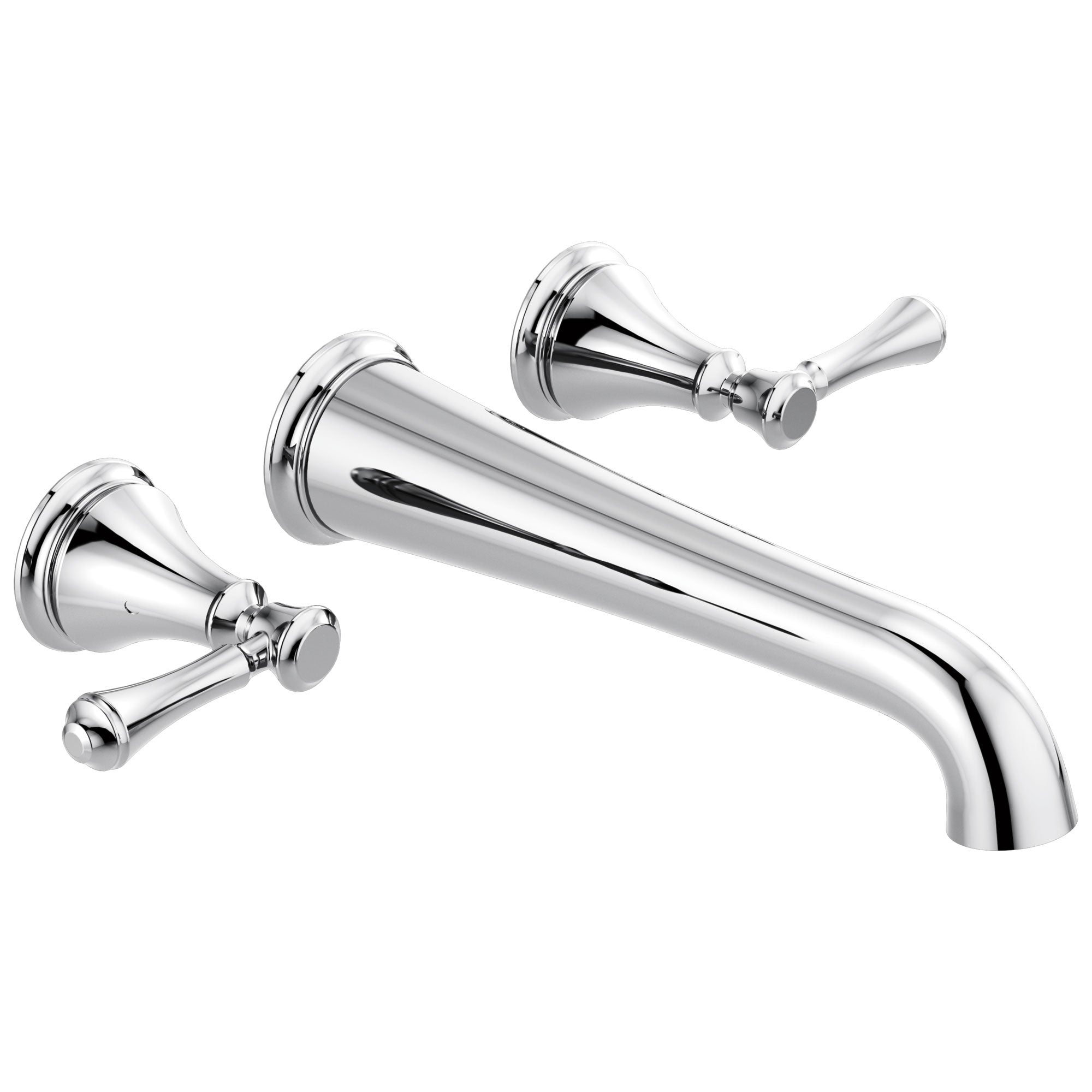 Delta Cassidy Chrome Finish 2 Handle Wall Mount Tub Filler Faucet Includes Rough-in Valve D3008V