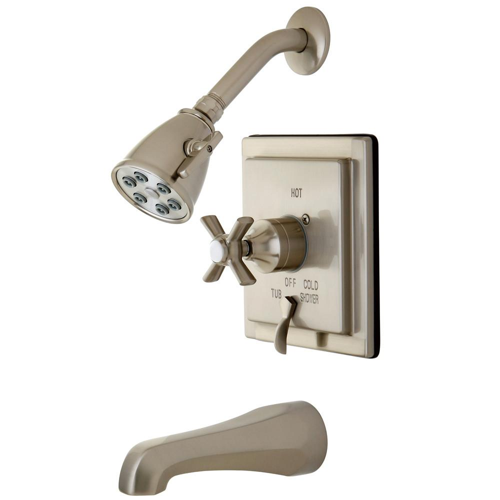 Kingston Brass VB86580ZX Tub and Shower Combination Faucet Satin Nickel