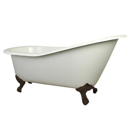 "61"" Small Cast Iron White Slipper Clawfoot Bathtub with Oil Rubbed Bronze Feet"