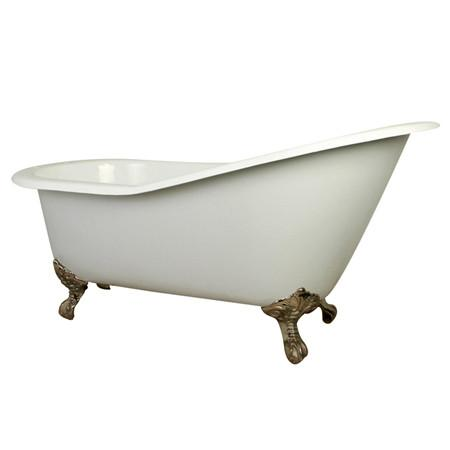 "61"" Small Cast Iron White Slipper Clawfoot Bathtub with Satin Nickel Feet"