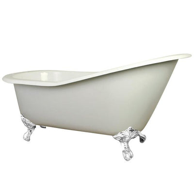 "61"" Small Cast Iron White Slipper Clawfoot Bathtub with White Feet"