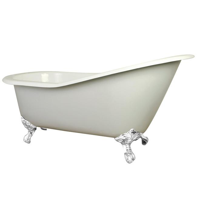 61 Quot Small Cast Iron White Slipper Clawfoot Bathtub With