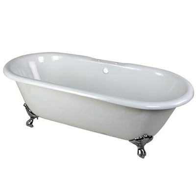 "66"" Large Cast Iron Double Ended White Clawfoot Bathtub with Chrome Feet"