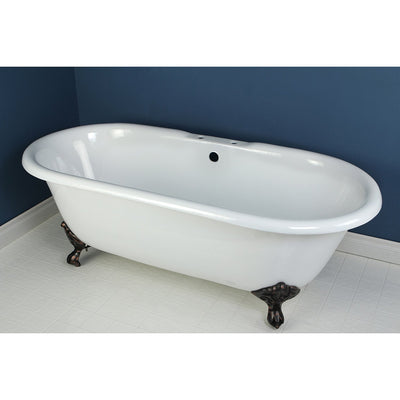 "66"" Large Cast Iron Freestanding Clawfoot Bathtub w/ Oil Rubbed Bronze Feet"