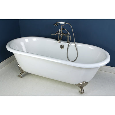 "66"" Large Cast Iron Double Ended White Claw Foot Bathtub with Satin Nickel Feet"