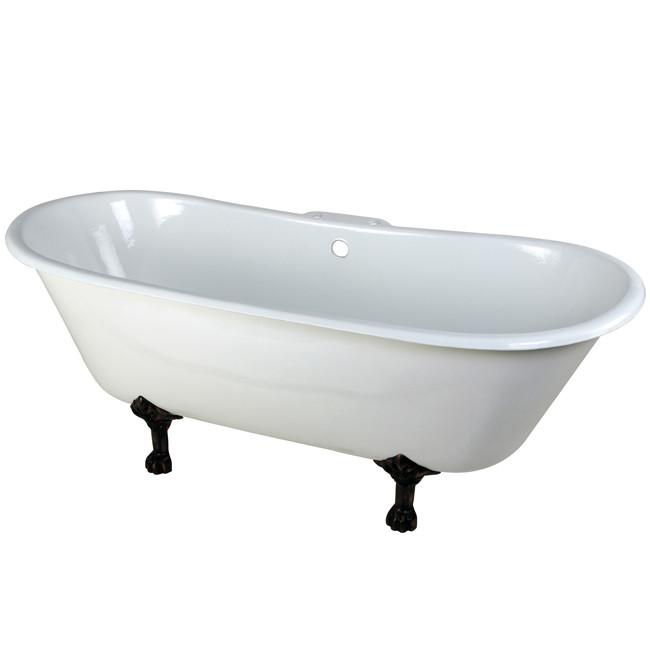 "67"" Large Cast Iron Double Slipper Clawfoot Bathtub with Oil Rubbed Bronze Feet"