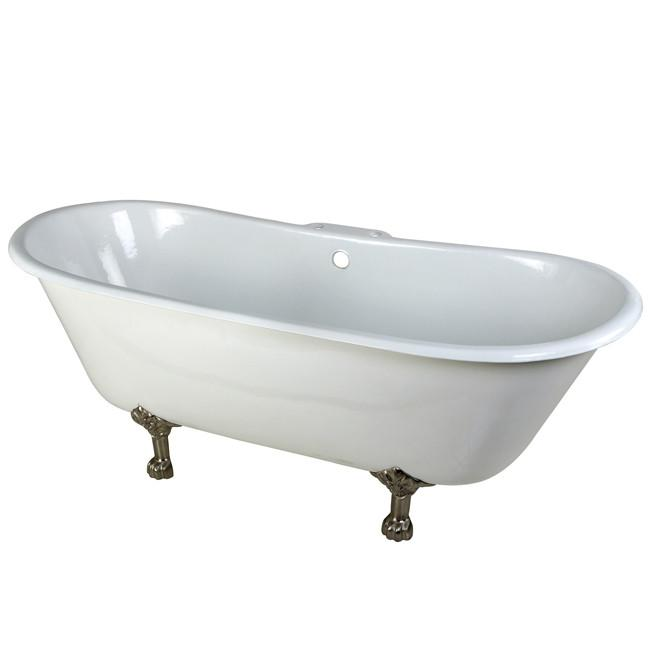 "67"" Large Cast Iron White Double Slipper Clawfoot Bathtub with Satin Nickel Feet"