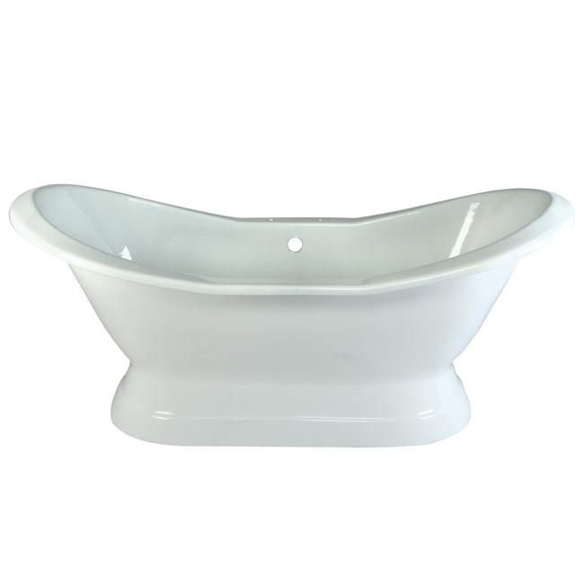 "72"" Large Cast Iron White Double Slipper Pedestal Freestanding Bathtub"