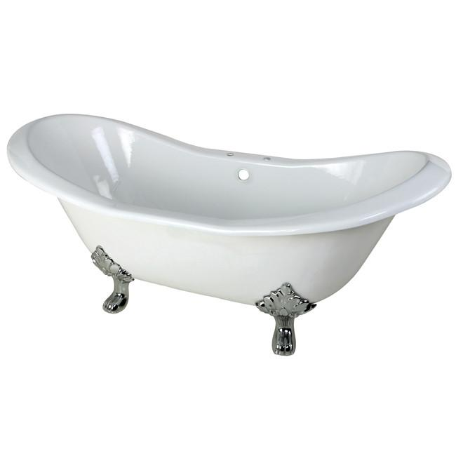 "72"" Large Cast Iron White Double Slipper Clawfoot Bathtub with Chrome Feet"