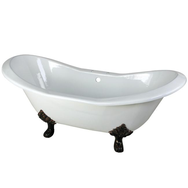 "72"" Large Cast Iron Double Slipper Clawfoot Bathtub with Oil Rubbed Bronze Feet"
