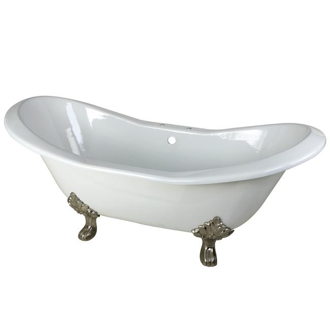 "72"" Large Cast Iron White Double Slipper Claw Foot Bathtub w/ Satin Nickel Feet"