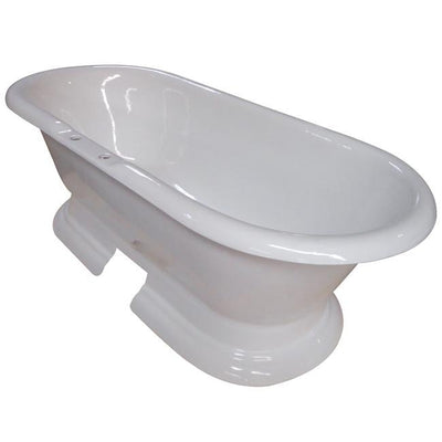 "72"" Large Cast Iron Double Ended White Pedestal Freestanding Bathtub"