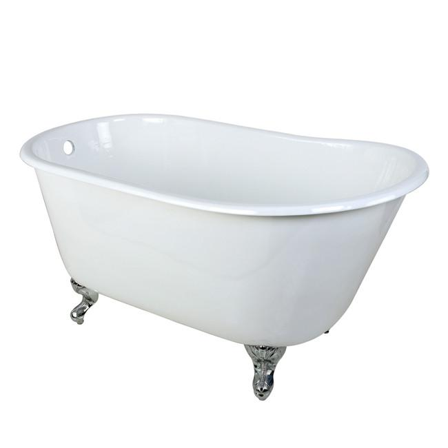 "53"" Small Cast Iron White Slipper Clawfoot Bathtub with Chrome Feet"