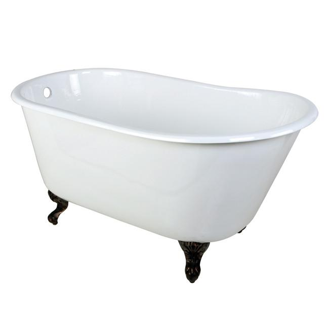 "53"" Small Cast Iron White Slipper Claw Foot Bathtub with Oil Rubbed Bronze Feet"