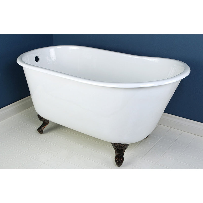 53 Quot Small Cast Iron White Slipper Claw Foot Bathtub With