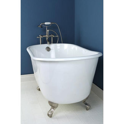 "53"" Small Cast Iron White Slipper Clawfoot Bathtub with Satin Nickel Feet"