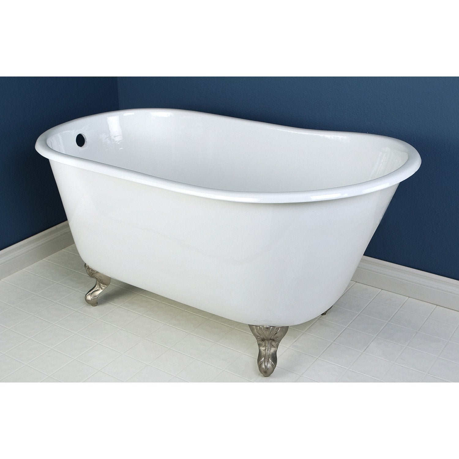 53 Quot Small Cast Iron White Slipper Clawfoot Bathtub With