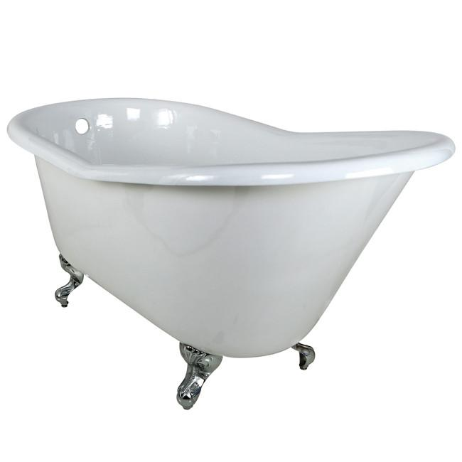 "60"" Small Cast Iron White Slipper Clawfoot Bathtub with Chrome Feet"