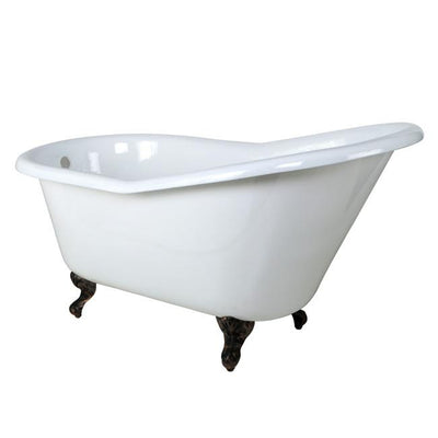 "60"" Small Cast Iron White Slipper Claw Foot Tub with Oil Rubbed Bronze Feet"